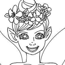 Coloriage : petite fille elfe à imprimer