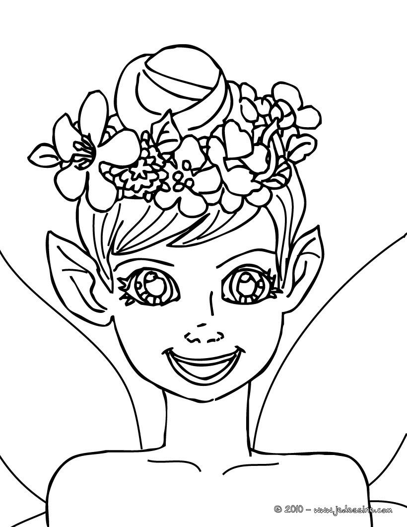 Coloriage petite fille elfe  imprimer