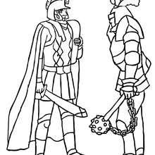 Coloriage : Rencontre entre deux chevaliers