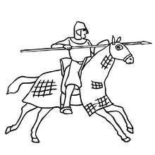 course de chevaliers à colorier - Coloriage - Coloriage GRATUIT - Coloriage PERSONNAGE IMAGINAIRE - Coloriage CHEVALIERS ET DRAGONS