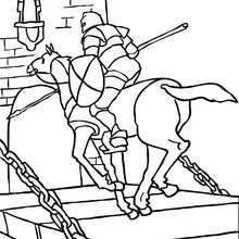 Coloriage : Le chevalier franchit le pont-levis