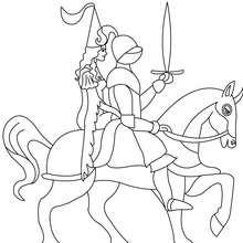 Coloriage : Le chevalier et sa Princesse