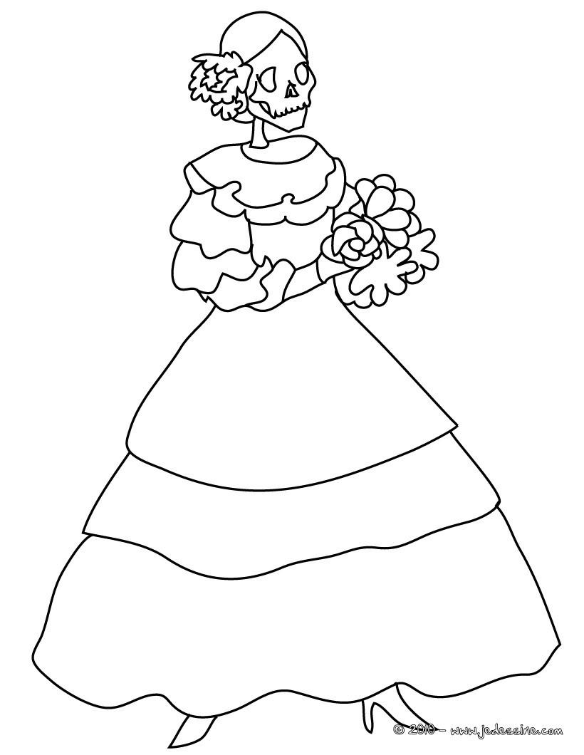 coloriage femme mexicaine fete des morts a colorier