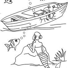 sirène bateau dans l'eau à colorier - Coloriage - Coloriage GRATUIT - Coloriage PERSONNAGE IMAGINAIRE - Coloriage SIRENE