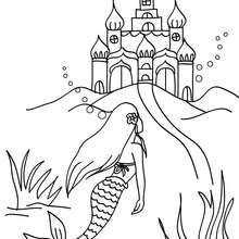 sirène et château à colorier - Coloriage - Coloriage GRATUIT - Coloriage PERSONNAGE IMAGINAIRE - Coloriage SIRENE