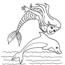 coloriage sirène et dauphin