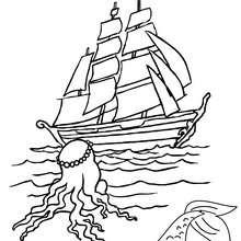 sirène au bateau à colorier - Coloriage - Coloriage GRATUIT - Coloriage PERSONNAGE IMAGINAIRE - Coloriage SIRENE