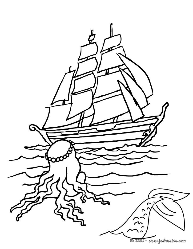 Coloriages sir ne au bateau colorier - Coloriages sirenes ...