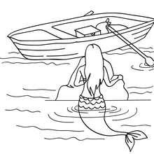 jolie sirène à la barque à colorier