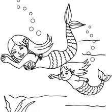 sirne et bb sirne dans l'eau  colorier - Coloriage - Coloriage GRATUIT - Coloriage PERSONNAGE IMAGINAIRE - Coloriage SIRENE