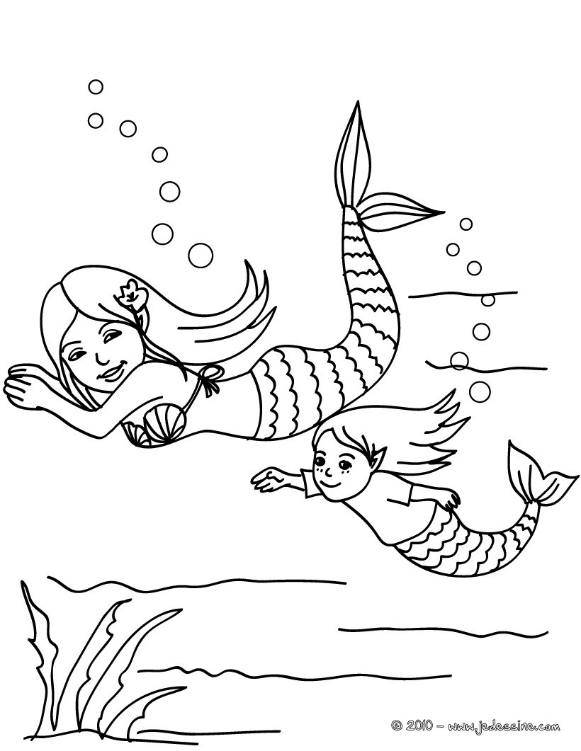 Coloriages sir ne et b b sir ne dans l 39 eau colorier for Baby mermaid coloring pages
