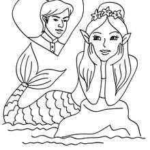 coloriage sirne amoureuse - Coloriage - Coloriage GRATUIT - Coloriage PERSONNAGE IMAGINAIRE - Coloriage SIRENE