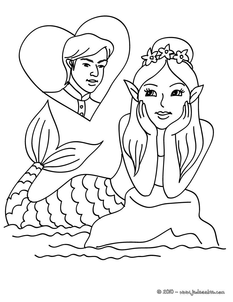 coloriage sirène amoureuse