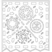 décoration naperon mexicain à colorier - Coloriage - Coloriage FETES - Coloriage FETE DES MORTS MEXICAINE