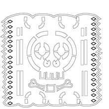 décoration naperon mexicain à colorier en ligne - Coloriage - Coloriage FETES - Coloriage FETE DES MORTS MEXICAINE