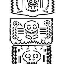 coloriage 3 dcorations naperons mexicains - Coloriage - Coloriage FETES - Coloriage FETE DES MORTS MEXICAINE