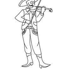 coloriage squelette mexicain musicien - Coloriage - Coloriage FETES - Coloriage FETE DES MORTS MEXICAINE
