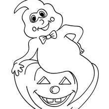 Coloriage d'Halloween : coloriage fantôme sur citrouille