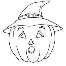 Coloriage d'Halloween : citrouille au chapeau à colorier
