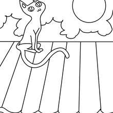 Coloriage d'Halloween : Chat sur le toit à colorier