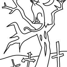 Coloriage d'Halloween : chat arbre à colorier