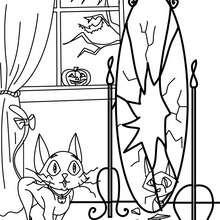 chat miroir cassé à imprimer - Coloriage - Coloriage FETES - Coloriage HALLOWEEN - Coloriage CHAT HALLOWEEN