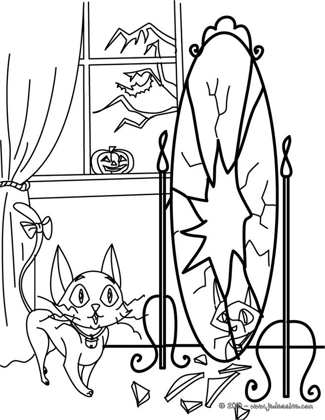 scary black cat coloring pages - photo#21