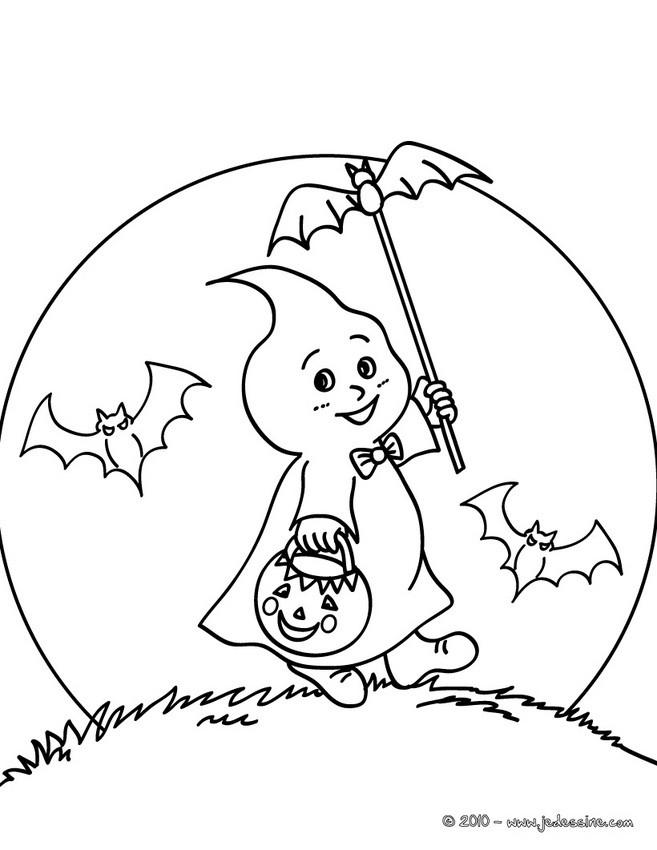 Coloriage d'Halloween : petit fantôme mignon à colorier