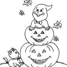 Coloriage d'Halloween : petit fantôme à la citrouille à colorier