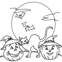 chat nuit halloween gratuit - Coloriage - Coloriage FETES - Coloriage HALLOWEEN - Coloriage CHAT HALLOWEEN