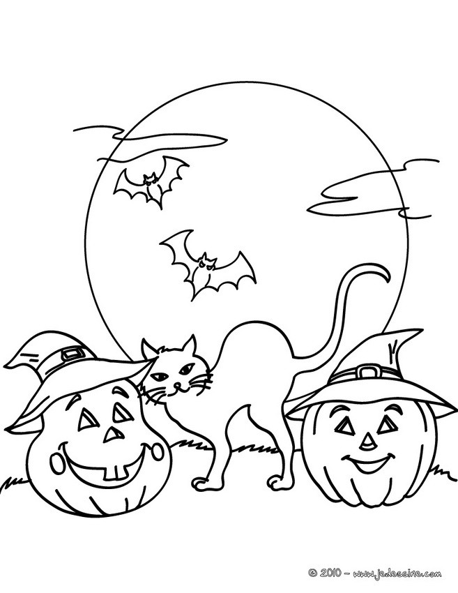 Coloriages chat nuit halloween gratuit - Dessin chat halloween ...