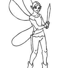 elfe à l'épée à colorier - Coloriage - Coloriage GRATUIT - Coloriage PERSONNAGE IMAGINAIRE - Coloriage FEE