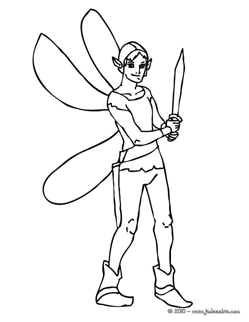 Coloriage : elfe à l'épée à colorier