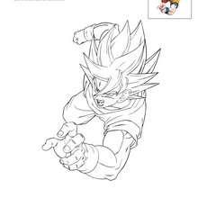 Coloriage GOKU passe à l'attaque - Coloriage - Coloriage DRAGONBALL Z