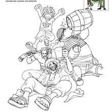 LUFFY et L'EQUIPAGE DE SHANKS à colorier - Coloriage - Coloriage ONE PIECE