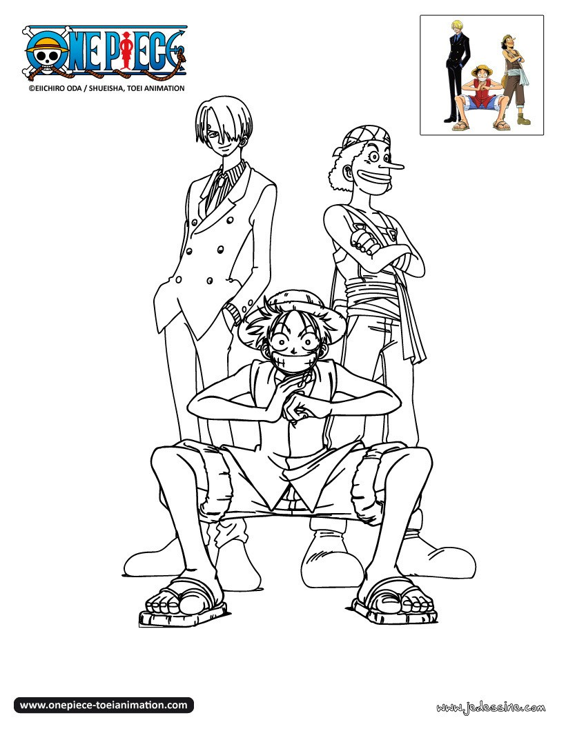 Coloriages sanji usopp et luffy colorier - Coloriage one peace ...