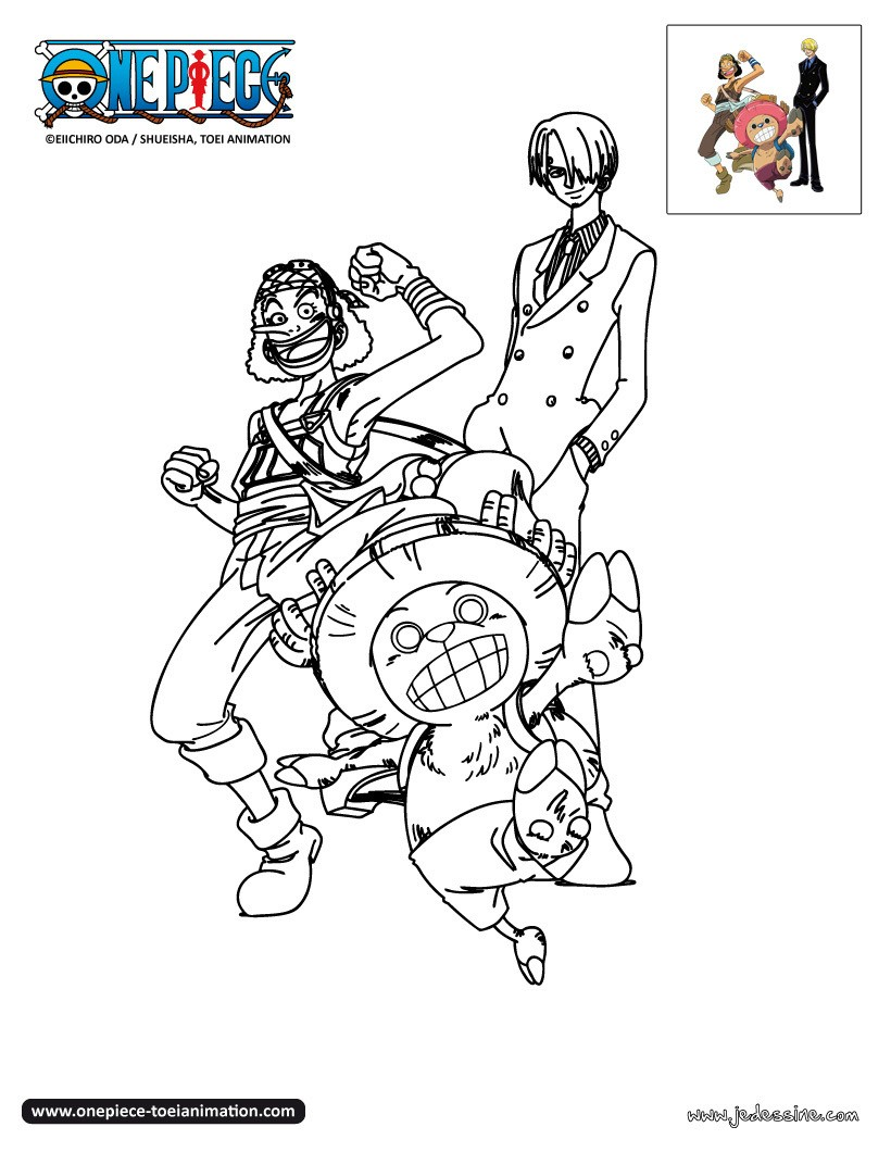 Coloriages coloriage usopp sanji et chopper - Coloriage one piece wanted ...