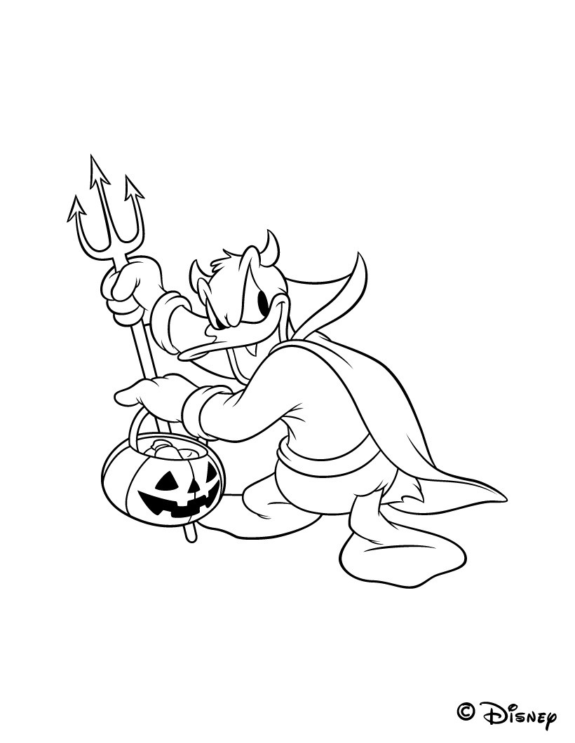 Coloriages coloriage donald avec sa fourche et son lampion halloween - Dessin lampion ...