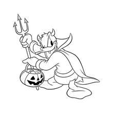 Coloriage d'Halloween : Coloriage Donald avec sa fourche et son lampion Halloween