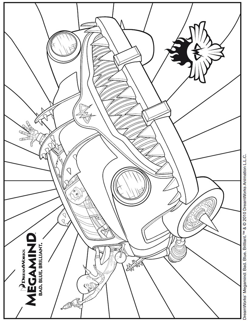 Coloriage Voiture Invisible de MEGAMIND