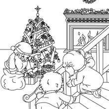Coloriages Cadeaux avec père Noël - Coloriage - Coloriage FETES - Coloriage NOEL - Coloriage CADEAUX DE NOEL - Coloriages CADEAUX DE NOEL