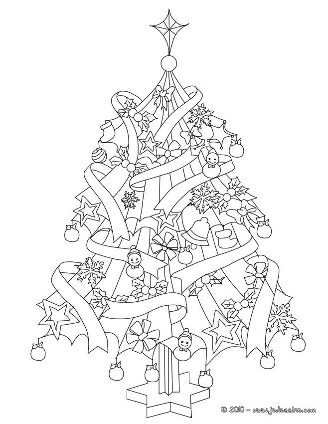 Coloriages Sapin De Noël Décoré à Colorier Frhellokidscom