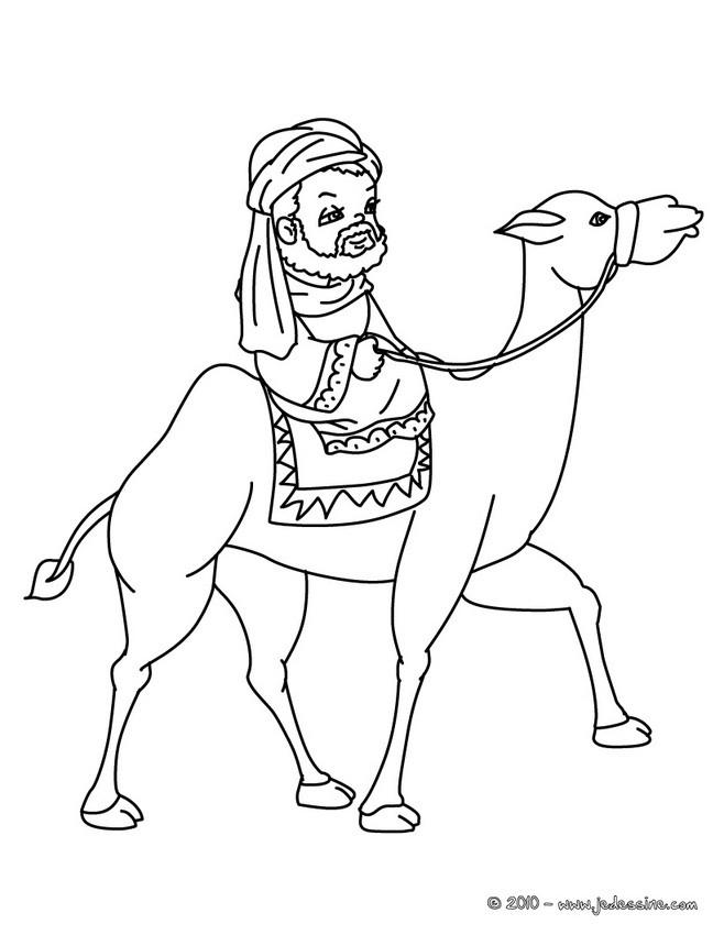 Coloriage : Roi mage sur son chameau