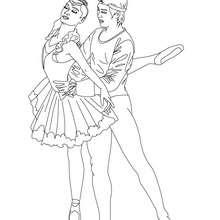 Couple danseurs à colorier - Coloriage - Coloriage SPORT - Coloriage DANSE - Coloriage GALA DE DANSE