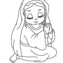 Marie à genoux à colorier - Coloriage - Coloriage FETES - Coloriage NOEL - Coloriage PERSONNAGES RELIGIEUX