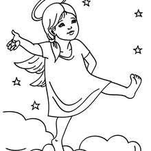 Coloriage : Petit ange dans les nuages