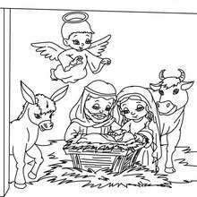 Sainte famille à colorier - Coloriage - Coloriage FETES - Coloriage NOEL - Coloriage PERSONNAGES RELIGIEUX