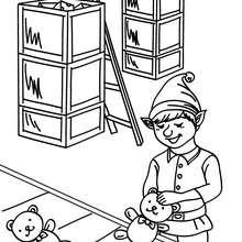 La fabrique à jouets à colorier - Coloriage - Coloriage FETES - Coloriage NOEL - Coloriage LUTIN DE NOEL - Coloriages LUTIN DE NOEL
