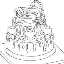 Gâteau de Noël à colorier - Coloriage - Coloriage FETES - Coloriage NOEL - Coloriage SAPIN DE NOEL - Coloriage SAPIN DE NOEL DECORE