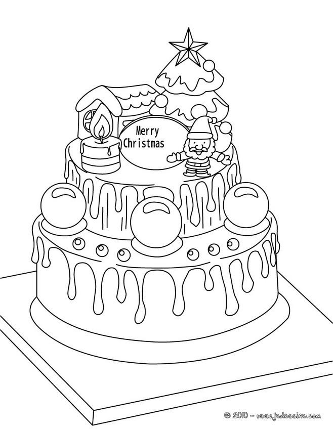 Coloriage : Gâteau de Noël à colorier